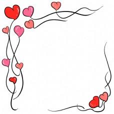 手绘心形边框插画