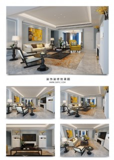 古典欧式客厅空间效果图