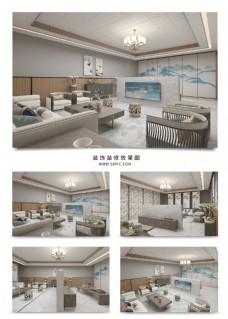 新中式客厅茶室装饰空间效果图