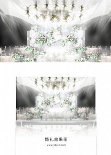 纯白色浪漫简约婚礼效果图