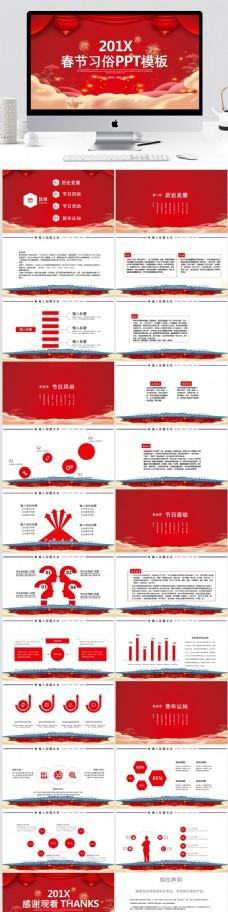 春节习俗策划宣传PPT模板