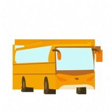 黄色矢量卡通巴士免费下载