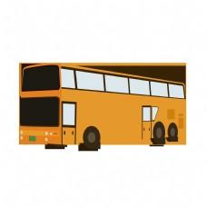 橙色双层矢量巴士