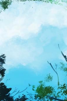 蓝色天空风景背景电商淘宝背景H5