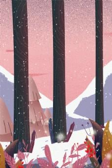 冬天森林雪景电商淘宝背景H5
