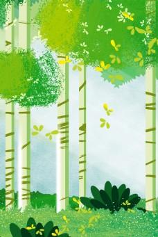 绿色森林风景电商淘宝背景H5