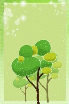 春天绿树边框电商淘宝背景H5