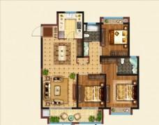 室内设计家装彩色平面布置图