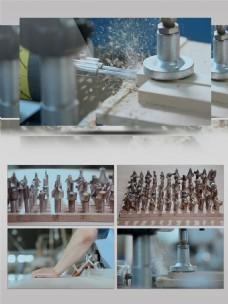 精品实木家具制造抛光打眼视频素材