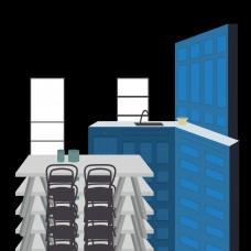 扁平风格手绘插画室内设计客厅餐桌厨房