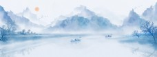 中国风江面山水画背景