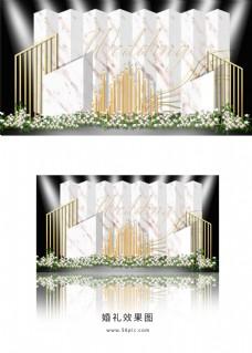 白色简约几何婚礼迎宾区效果图