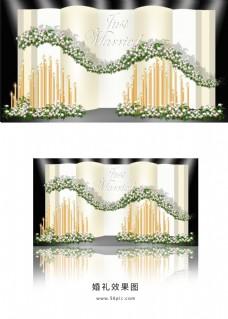 香槟色简约婚礼迎宾区效果图