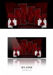 红色简约婚礼迎宾区效果图