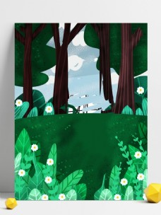 手绘绿色树林花丛背景设计