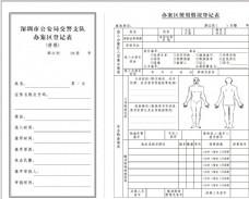 交警支队办案区登记表