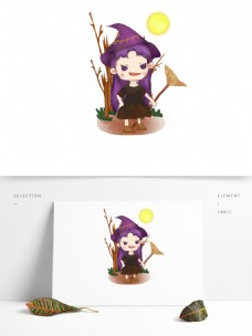 暗黑系紫色的小女巫可商用