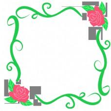 手绘卡通玫瑰花藤