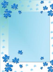 蓝色枫叶背景