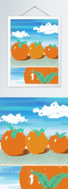 简约手绘水果橘子客厅装饰画