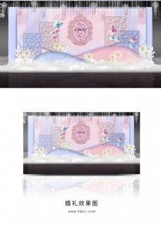 唯美粉蓝渐变色婚礼舞台效果图