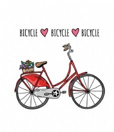花篮红色自行车