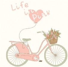 粉色气球自行车