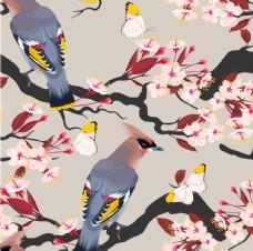 梅花花鸟背景