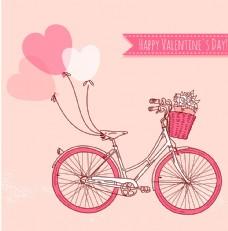 气球自行车插画