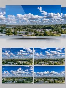 城市蓝色天空延时摄影