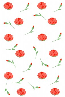 红色的玫瑰花底纹插画