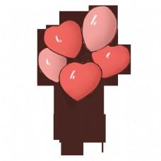 手绘情人节心形气球