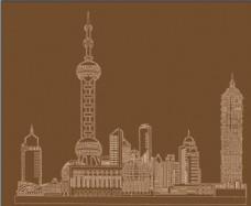 矢量上海东方明珠线稿