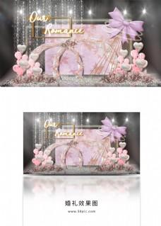 梦幻蝴蝶结花艺拱门礼物区造型婚礼效果图