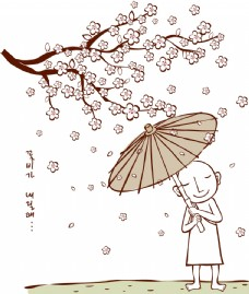 樱花树下的和尚