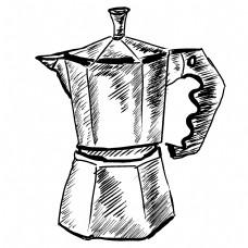 黑色线描榨汁机插画