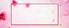 浪漫情人节粉色花朵玫瑰花花朵边框