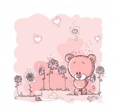 卡通花卉小熊
