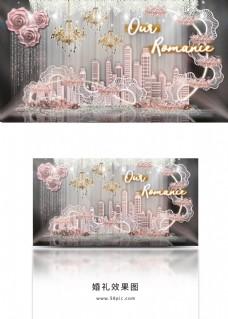 梦幻城市雕塑层叠装饰蕾丝花带婚礼效果图
