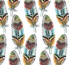 彩绘羽毛无缝背景