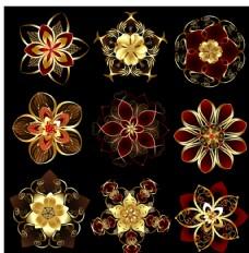 金色圆形装饰花纹