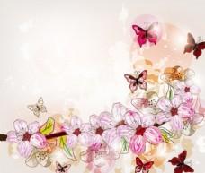 手绘花蝶花卉
