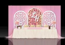 粉色婚礼签到处