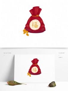 福袋钱袋红包金币手绘财宝卡通可爱图案