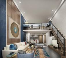 中式客厅loft3D模型