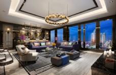 奢华现代客厅效果图3D模型