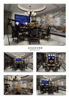 庄重新中式餐厅效果图