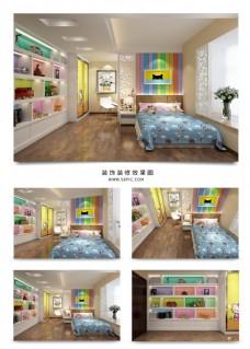 纯真现代儿童房空间效果