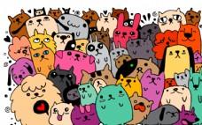 卡通猫狗和兔子