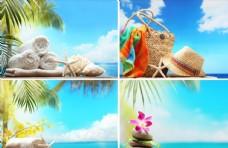 海景椰树蓝天白云高清风景画